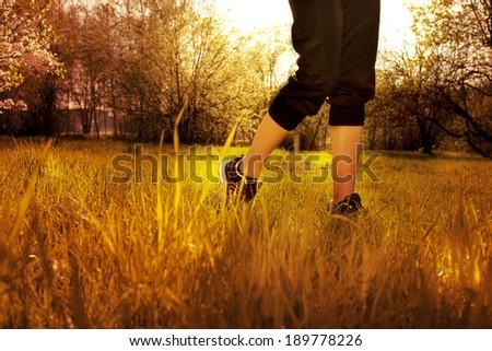 Athlete runner feet running on grass closeup on shoe. Woman fitness sunrise jog workout wellness concept. - stock photo
