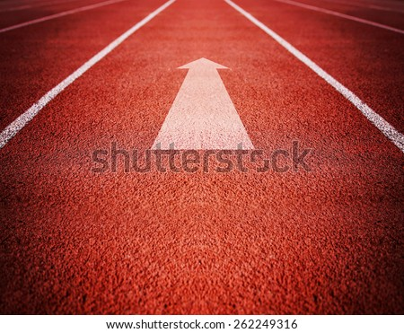 Athlete Track or Running Track with an arrow pointing good for business or motivation designs or graphic posters and meme images  - stock photo