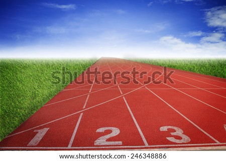 Athlete Track or Running Track with nice scenic - stock photo