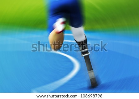 athlete with carbon prosthesis  on race track
