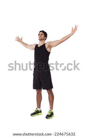 Athlete with his arms outstretched - stock photo