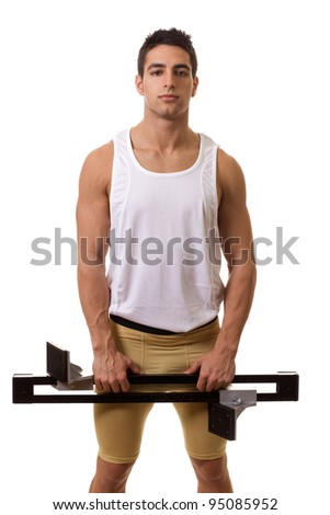 Athlete With Starting Block - stock photo