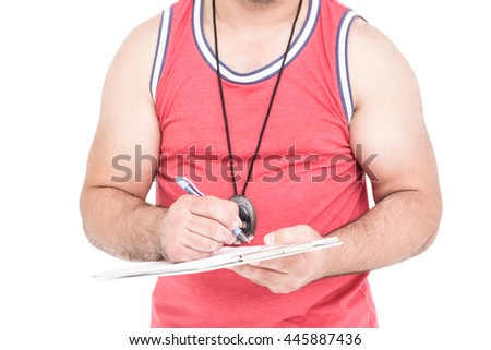 Athlete writing on clipboard on white background