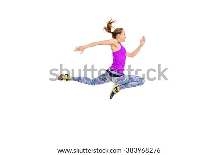 Athlete young woman running fast. Concept of winning. Isolated over white. - stock photo