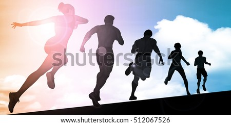 Athletes Running During Sunset with Silhouette 3D Illustration Render