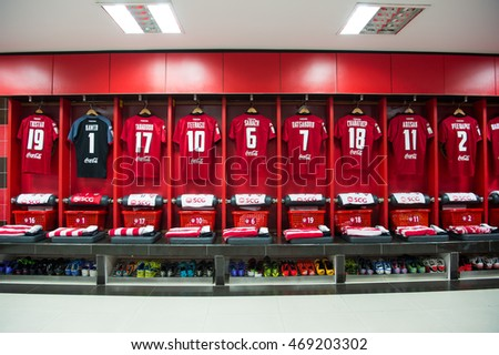 Athletic dressing rooms team of Muangthong Utd during Thai Premier League between Muangthong Utd.and Bangkok Glass at SCG Stadium on March 9, 2016 Nonthaburi,Thailand