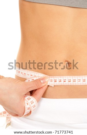 Athletic fit slim female measuring her waist metric tape measure after a fitness diet  isolated over white background