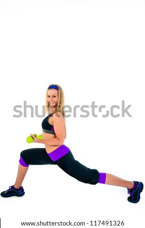 Athletic girl against white background - stock photo