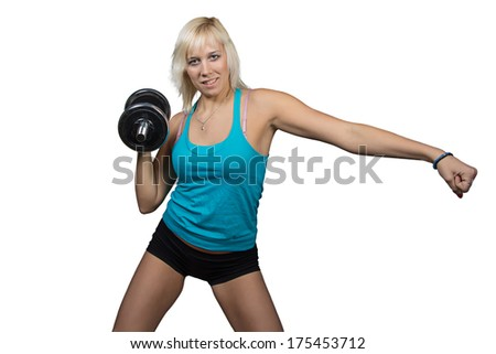 Athletic girl making exercises with dumbbell - isolated photo portrait