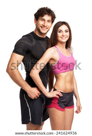 Athletic man and woman after fitness exercise on the white background - stock photo