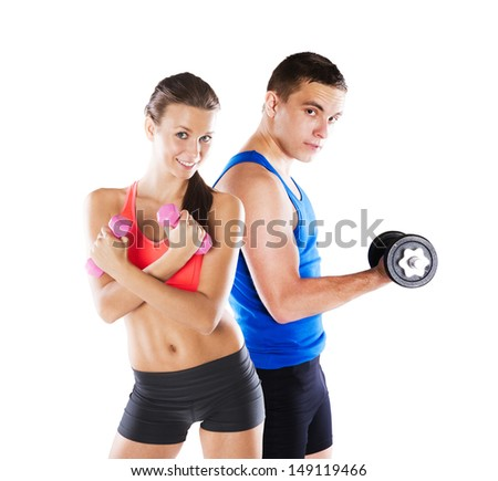 Athletic man and woman before fitness exercise - stock photo
