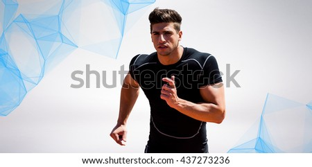 Athletic man jogging against white background against blue angular design - stock photo