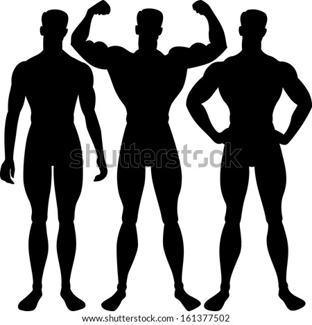 athletic man silhouette in different poses, isolated on white background