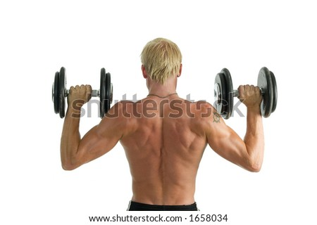 Athletic man with big muscles isolated over a white background