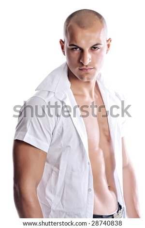 athletic man with white shirt