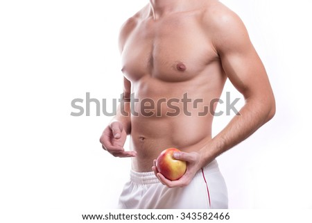 Athletic nude muscular male body isolated on white