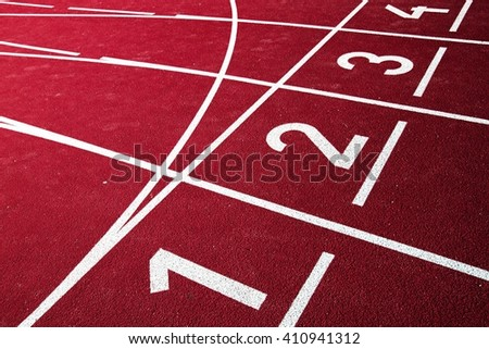 Athletic running track with numbers