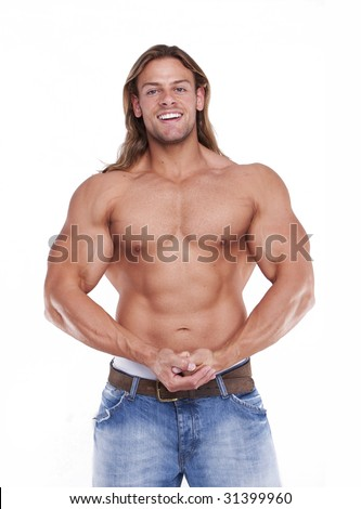 Athletic sexy male body builder with the blonde long hair. gladiator - stock photo