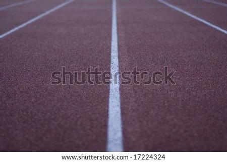 athletic stadium running track - stock photo