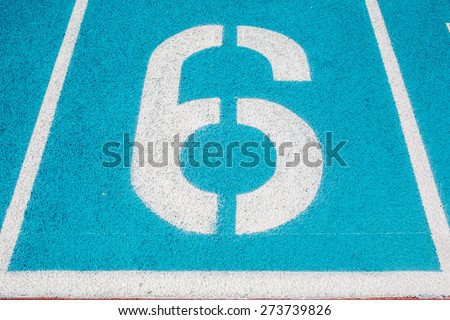Athletic Surface Markings -- Number six-- in bright colors, using - stock photo