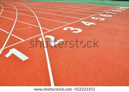 Athletic track lane number. - stock photo