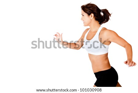 Athletic woman running - isolated over a white background