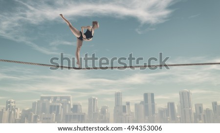 Athletic woman training on a rope over the town. This is a 3d render illustration