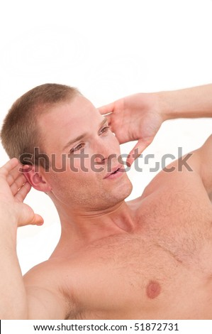 Athletic young man doing abs training - stock photo
