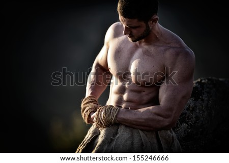 athletic young man outdoor - stock photo