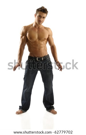 Athletic young man posing - stock photo