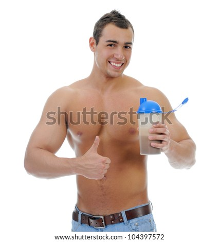 athletic young man with protein shake bottle. Isolated on white background - stock photo