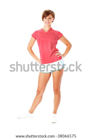 Athletic young woman, full body, isolated on white, from a complete series of photos.
