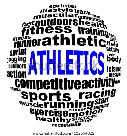ATHLETICS info text graphics and arrangement concept (word clouds) on white background - stock photo