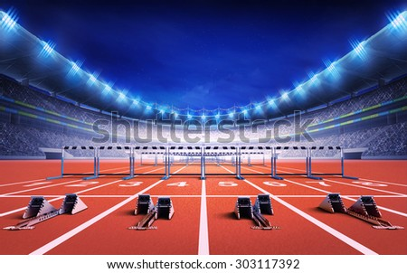 athletics stadium with race track with starting blocks and hurdles sport theme render illustration background - stock photo