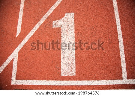 Athletics Track Lane Number one 1