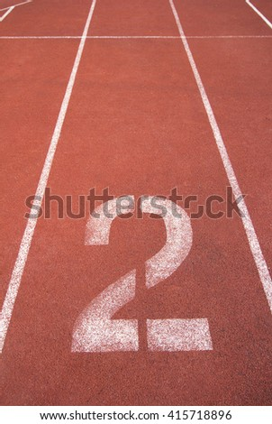 Athletics Track Lane Number two