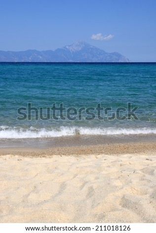 Athos. View from the Platanitsi beach in the Sithonia Peninsula, Halkidili, Greece