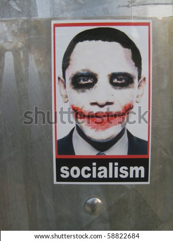 "ATLANTA - AUG 9: Controversial ""Socialist Joker"" Obama stickers can still be found in the streets of Atlanta on August 9, 2010, one year after they began to appear in L.A. and went viral."