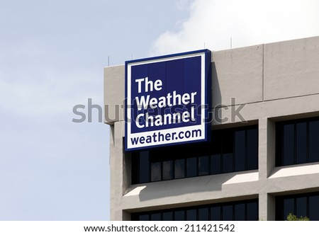 ATLANTA  AUGUST 5: The Weather Channel World Headquarters building located in Atlanta, Georgia on August 5, 2012. The Weather Channel is an American TV channel broadcasting weather-related content. - stock photo