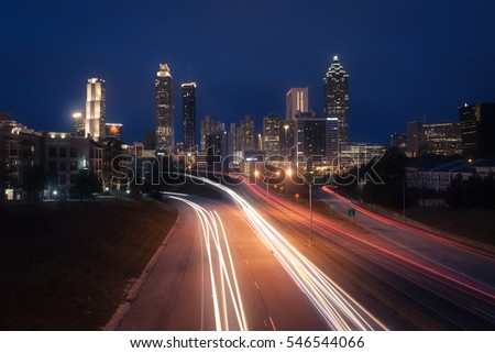 Atlanta city night skyline, Georgia, USA