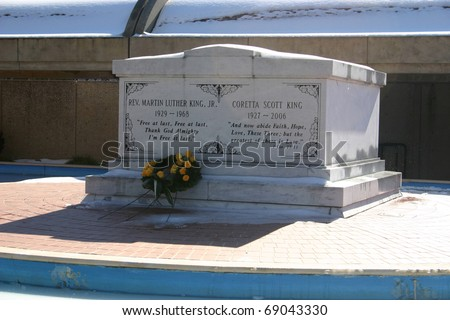 ATLANTA, GA - JAN 15: A wreath lays at Martin Luther King Jr's tomb on what would have been his 82 birthday, January 15, 2011. His wife Coretta lies beside him.
