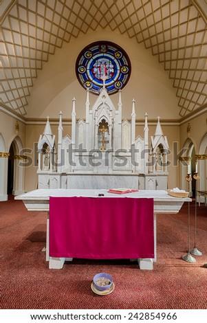 ATLANTA, GEORGIA - DECEMBER 2: Altar in the Catholic Shrine of the Immaculate Conception on December 2, 2014 in Atlanta, Georgia - stock photo