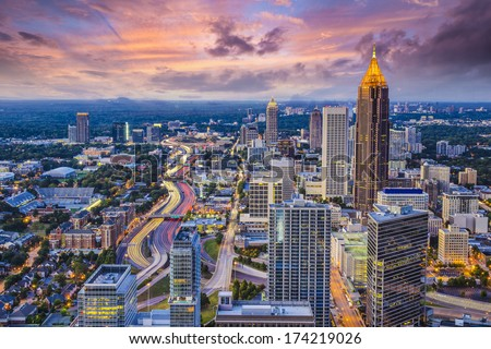 Atlanta, Georgia downtown aerial view. - stock photo