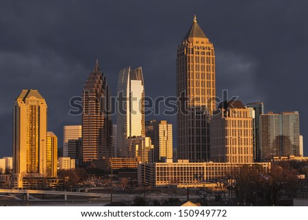 Atlanta Georgia skyline with thunderstorm sky - stock photo
