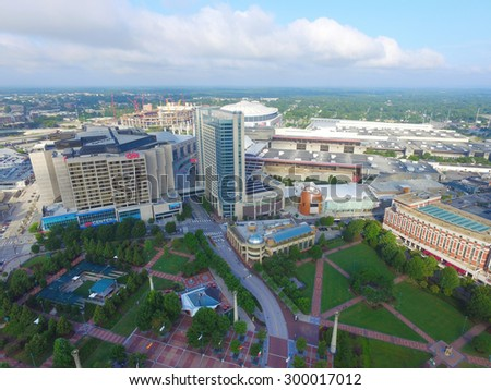 ATLANTA - JULY 25: Aerial photo of Centennial Park which is a 21 acre public park adjacent to the Georgia Aquarium and World of Coca-Cola July 25, 2015 in Atlanta GA USA