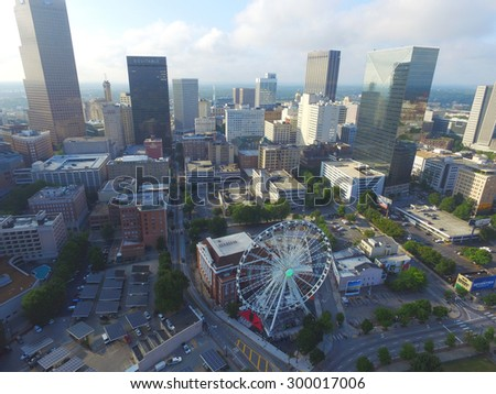 ATLANTA - JULY 25: Aerial photo of Downtown Atlanta Georgia which is Georgias most populated city and 8th most populated in the USA July 25, 2015 in Atlanta GA, USA.  - stock photo