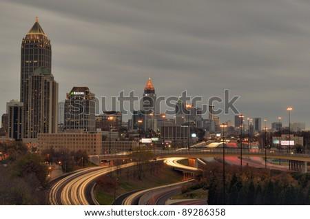 ATLANTA - NOVEMBER 19: Downtown on November 19, 2011 in Atlanta, GA. Atlanta has the nation's third highest concentration of Fortune 500 companies. - stock photo