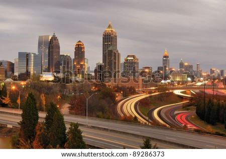 ATLANTA - NOVEMBER 19: Downtown on November 19, 2011 in Atlanta, GA. Atlanta has the nation's third highest concentration of Fortune 500 companies. - stock photo