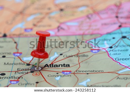 Atlanta pinned on a map of USA  - stock photo