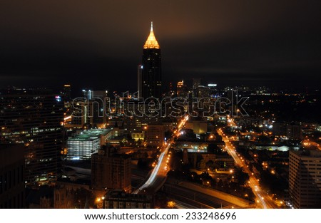 Atlanta skyline at night - stock photo